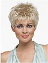 coupe de lutin coiffure perruques synthetiques cheveux courts perruques blondes droites avec frange pour les femmes Perruque naturelle