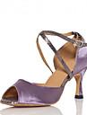 Chaussures de danse(Vert Violet) -Personnalisables-Talon Personnalise-Satin-Latine Salsa