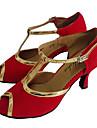 Chaussures de danse(Rouge) -Personnalisables-Talon Personnalise-Cuir Verni Flocage-Latine Salon