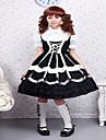Une Piece/Robes Gothique / Doux / Lolita Classique/Traditionnelle Steampunk® Cosplay Vetements de Lolita Noir Couleur PleineManches