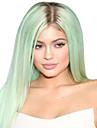 populaire! longues perruques synthetiques droites top lumiere de qualite de couleur verte