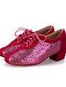 Chaussures de danse(Noir Rose Rouge) -Personnalisables-Talon Bottier-Flocage Paillette Brillante-Moderne