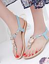 נעלי נשים-סנדלים-סינטתי-כפכפים-שחור / כחול / בז\'-שמלה / קז\'ואל-עקב שטוח