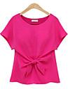 Femei Rotund Bluză Casul/Zilnic Plus Size / Șic Stradă,Mată Manșon scurt Vară-Albastru / Roșu / Alb Subțire Poliester