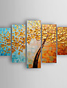 Oil Painting Landscape a Big Tree of Set 5  Hand Painted Canvas with Stretched Framed Ready to Hang