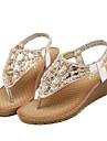 נעלי נשים-סנדלים-דמוי עור-נוחות-כסוף / זהב-שטח / קז\'ואל-עקב נמוך