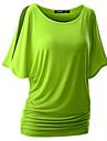 Enfärgad Kortärmad T-shirt Kvinnors Rund hals Bomull / Rayon