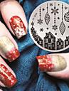 2016 senaste versionen mode mönster hus och julgåva nail art stämpling bild mall plattor