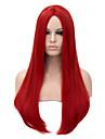 lång längd röd färg rakt hår europeisk väva syntetisk peruk
