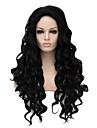 europa och nya högkvalitativa mode syntetiskt hår peruk hög temperatur svart långt lockigt syntetiskt hår