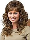 kvinnor lång cosplay förkroppsligar vinkar fluffigt syntetiskt hår peruk fullt bang mörkbrun med gratis hårnät