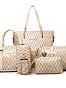 Dam PU Formell / Ledig / Kontor / Shopping Stor väska / bag set Vit / Blå / Brun / Röd / Svart / Burgundy