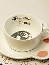 belle chat gris tasse de cafe
