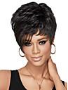 Capless kvinnor kort lockigt dam syntetiskt hår peruk sida bang svarta med gratis hårnät