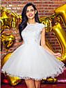 아플리케 / 구슬 / 레이스 TS couture® 칵테일 파티 드레스 볼 가운 보석 짧은 / 미니 얇은 명주 그물