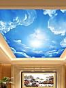 3d skinande läder effekt stor lobby takväggmålning tapeter blå himmel och moln takmålning konst dekor