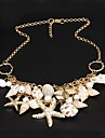 European Style Pearl Shells And Starfish Double Sweater Chain Necklace  Mermaid