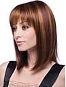 kvinnor 12 tums Bobo kort cosplay rakt syntetiskt hår peruk fullt bang brun beige mixcolor med gratis hårnät