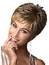 Capless kvinnor korta fluffiga vågiga syntetiska peruker blond med gratis hårnät