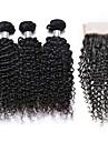 """4st mycket, 8 """"-24"""" naturligt svart färg 3Bundles brasiliansk jungfrulig hår djupt lockigt med spets stängning fria delen hår väver."""
