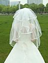 Voal de Nuntă Două Straturi Voaluri Lungime Până la Vârfurile Degetelor Margine panglică Tul Alb