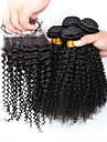 Slove Hair 7A Grade Products Peruvian Kinky Curly Hair Extensions 4pcs Afro Kinky Curly Bundles with Lace Closure