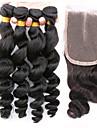 Trame cheveux avec fermeture Cheveux Bresiliens Ondulation Lache tissages de cheveux