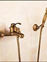 Contemporain Set de centre Cascade Douche pluie Douchette inclue with  Soupape ceramique Mitigeur deux trous for  Cuivre antique ,