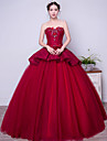 Formal Evening Dress - Vintage Inspired Ball Gown Strapless Floor-length Lace Satin Tulle Stretch Satin withBeading Bow(s) Crystal