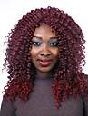 mode couleur rouge moyenne longueur perruques synthetiques boucles femmes