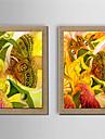 HANDMÅLAD Blommig/Botanisk Moderna,Två paneler Hang målad oljemålning