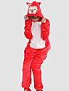 kigurumi Pyjamas Renard Collant/Combinaison Fete / Celebration Pyjamas Animale Halloween Rouge Mosaique Flanelle Kigurumi Pour Unisexe
