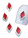 10pcs marquise rouge 3d strass bricolage accessoires en alliage nail art decoration