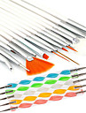 15PCS Nail Art Design Painting Drawing Pen Brush Set with 5PCS 2-way Dotting Marbleizing Pen Tool