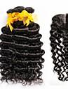 4st mycket malaysiska vinkar djupt lockigt jungfru hår med stängning 3Bundles obearbetade remy människohår väft med spets stängning