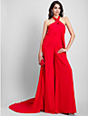 2017 TS Couture® Formal Evening Dress Sheath / Column Halter Court Train Chiffon