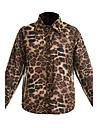 Mulheres Camisa Casual Simples Primavera / Verao / Outono,Leopardo Poliester Decote V Manga Longa Fina