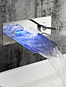 Contemporain Montage mural LED Cascade with  Soupape ceramique Mitigeur deux trous for  Chrome , Robinet lavabo
