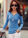 Enfärgad Långärmad T-shirt Kvinnors V-hals Bomull