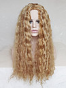 cosplaya peruk punkter i liten volym 28 tums lättgyllenbrun lockigt hår peruk polyester färgning