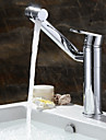 Contemporain Set de centre large spary / Pivotant with  Valve en ceramique Mitigeur un trou for  Chrome , Robinet lavabo