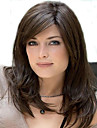 Capless mix färg lång längd högkvalitativa naturliga rakt hår syntetisk peruk med sidan bang