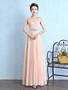Bridesmaid Dress Floor-length Chiffon / Lace - Sheath / Column Scoop with Crystal Detailing