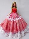 Prinsessa Klänningar För Barbie Doll Röd / Vit Klänningar För Flicka doll Toy