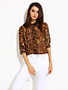 Women\'s Casual/Daily Simple Spring / Summer / Fall Shirt,Leopard V Neck Long Sleeve Polyester Thin