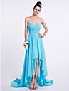2017 Lanting Bride® Asymmetrical Chiffon Bridesmaid Dress - A-line Sweetheart with Beading / Ruching