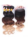 """10 """"-30"""" ombre hår eurasian jungfru hår förkroppsligar vinkar med spets stängning människohår väft naturligt svart baby hår"""