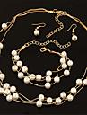 Pentru femei Seturi de bijuterii Cercei Picătură Lănțișoare Κολιέ με Πέρλες La modă Multistratificat Elegant de Mireasă Perle Circle Shape