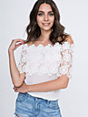 Women\'s Lace Cutout Off Shoulder Patchwork T-shirt