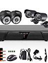4ch CCTV fullt d1 dvr rörelsedetektering 800tvl utomhus inomhus mörkerseende kamerasystem